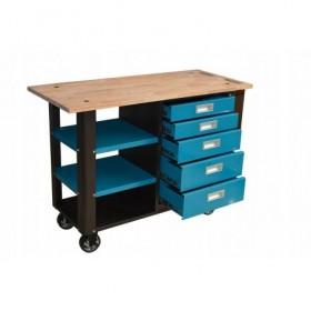 Stół warsztatowy zielona szafka z drewnianym blatem FR4090