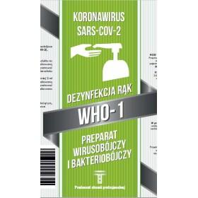 Płyn wirusobójczy i bakteriobójczy do dezynfekcji rąk WHO, 1l, certyfikowany