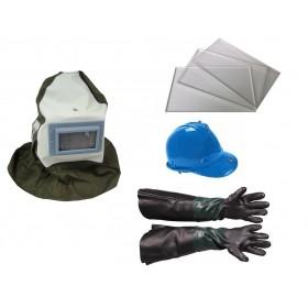Maska ochronna do piaskowania +rękawice+3 szybki zapasowe