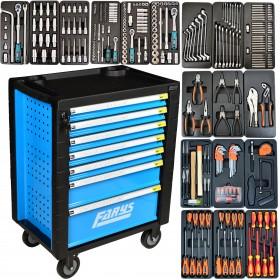Szafka warsztatowa 7 szufl. z wyposażeniem 334el.  FR4064 niebieska